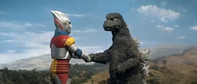 Godzilla vs Megalon - Godzilla and Jet Jaguar handshake
