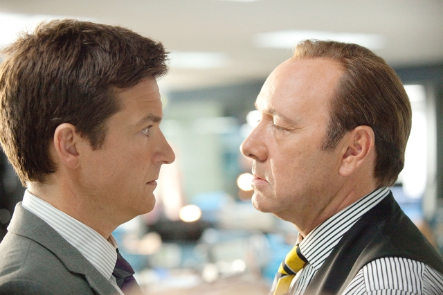 >Jason Bateman, left, plays Nick and Kevin Spacey plays Dave Harken in New Line Cinema's comedy Horrible Bosses, opening today.