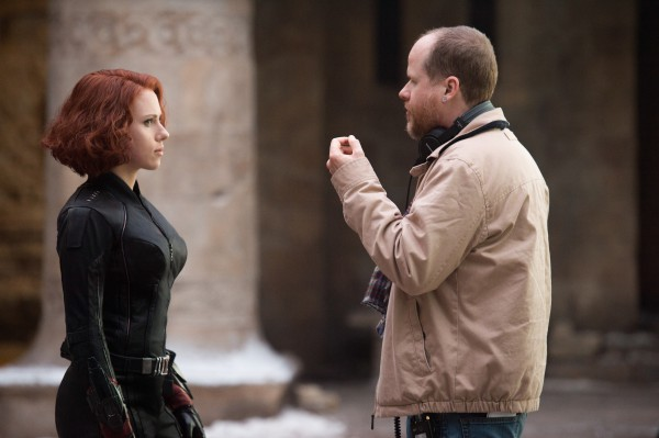Marvel's Avengers: Age Of Ultron..L to R: Scarlett Johansson (Black Widow/Natasha Romanoff) on set with Director (Joss Whedon)..Ph: Jay Maidment..?Marvel 2015