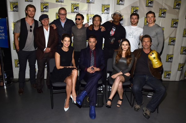 "SAN DIEGO, CA - JULY 26:  (bottom L-R) Actors Cobie Smulders, Robert Downey Jr., Elizabeth Olsen and Josh Brolin. (top L-R) Actors Chris Hemsworth, James Spader, Paul Bettany, Jeremy Renner, Mark Ruffalo, Samuel L. Jackson, Aaron Taylor-Johnson and Chris Evans attend Marvel's Hall H Panel for ""Avengers: Age Of Ultron"" during Comic-Con International 2014 at San Diego Convention Center at  on July 26, 2014 in San Diego, California.  (Photo by Alberto E. Rodriguez/Getty Images for Disney) *** Local Caption *** Cobie Smulders;Robert Downey Jr.;Elizabeth Olsen;Josh Brolin;Chris Hemsworth;James Spader;Paul Bettany;Jeremy Renner;Mark Ruffalo;Samuel L. Jackson;Aaron Taylor-Johnson;Chris Evans"