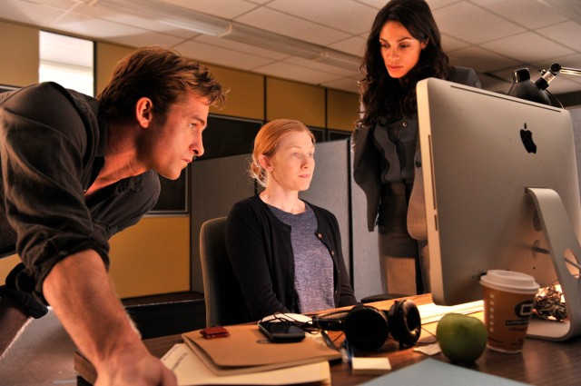 ***SUNDAY CALENDAR  SNEAKS STORY FOR NOVEMBER 2, 2014. DO NOT USE PRIOR TO PUBLICATION********** Scott Speedman (Jeffrey), Mireille Enos (Tina), Rosario Dawson (Nicole) in a scene from the movie The Captive, directed by Atom Egoyan Photo credit for all: Courtesy of A24